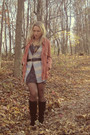 Purple-h-m-dress-gray-old-navy-vest-black-bakers-boots-orange-target-coat-