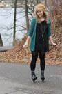 black thrifted dress - camel H&M hat - black Deena & Ozzy wedges