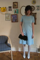 white HUE tights - white vintage shoes - blue 60s vintage dress