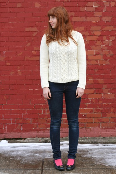 blue Cheap Monday jeans - cream cable knit vintage sweater - hot pink socks - na