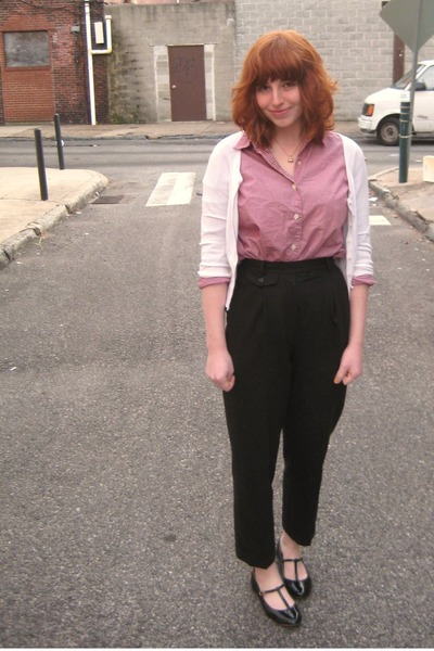 red vintage shirt - white Forever 21 cardigan - black vintage pants - black Urba
