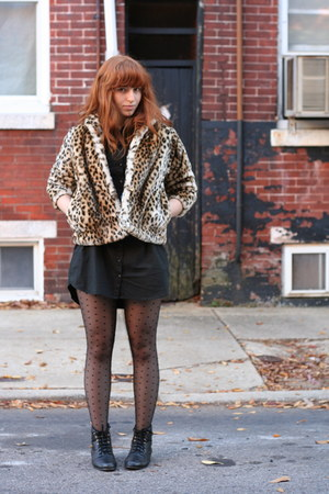 light brown vintage jacket - black H&M dress - black H&M tights - black vintage
