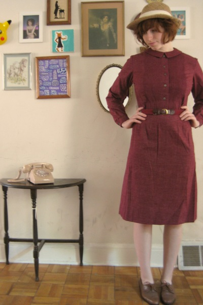 hat - dress - vintage shoes