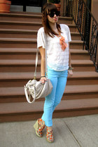 light orange Forever 21 necklace - sky blue H&M jeans - white Forever 21 shirt