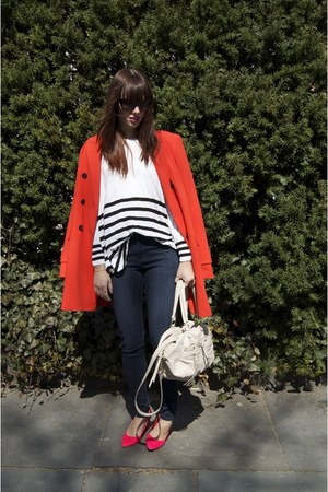 H&M sweater - carrot orange ann taylor jacket - hot pink H&M heels