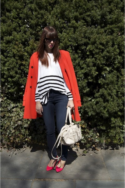 carrot orange ann taylor jacket - H&M sweater - hot pink H&M heels