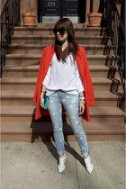 DIY jeans - white shoemint shoes - carrot orange ann taylor jacket