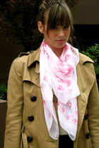 brown H&M jacket - hot pink Alexand McQueen scarf - light brown H&M bag - black