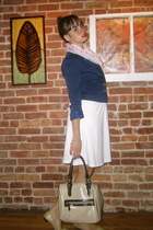 gold Payless shoes - white American Eagle dress - navy H&M blazer - white Alexan
