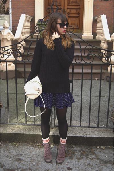 shoemint boots - black JCrew sweater - cream BCBGeneration bag