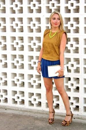 vintage purse - Tibi shorts - Steve Madden heels - Adia Kibur necklace - Tibi bl