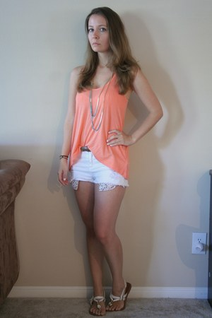 light orange Forever 21 top - blue dip dye necklace