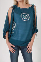 Teal-love-stitch-top