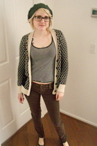 brown BDG pants - gray hat - black Wet Seal shirt - white sweater - gray Target
