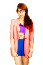 bubble gum Zoo Shop blazer - blue Bazaar shorts - cream sm dept store top
