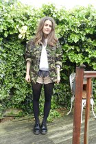 dark khaki camouflage thrifted vintage jacket - peach dip dye diy vintage shorts