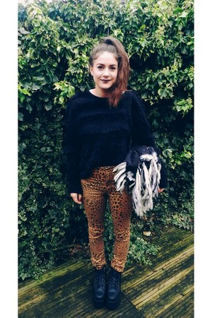 mustard leopard Cheap Monday jeans - black flatform Office boots