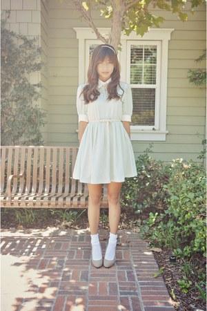 light blue Choies dress - beige suede Forever 21 heels