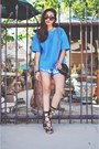 Turquoise-blue-floral-lace-furor-moda-shorts-teal-hokkfabrica-top