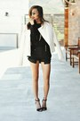Cream-studded-woven-forever21-blazer-black-gold-knit-rehab-jumper