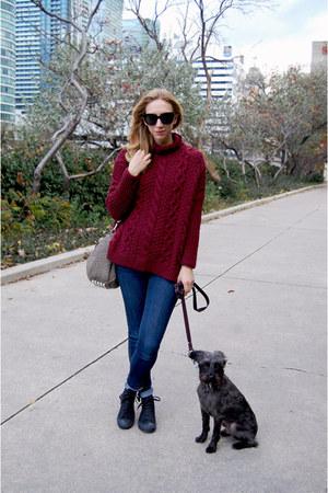 maroon Zara sweater - navy rag & bone jeans - tan Alexander Wang bag