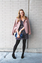 light pink Jcrew jacket - navy Forever 21 dress - navy Topshop bag
