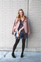 light pink Jcrew jacket - navy Forever 21 dress - navy Topshop bag