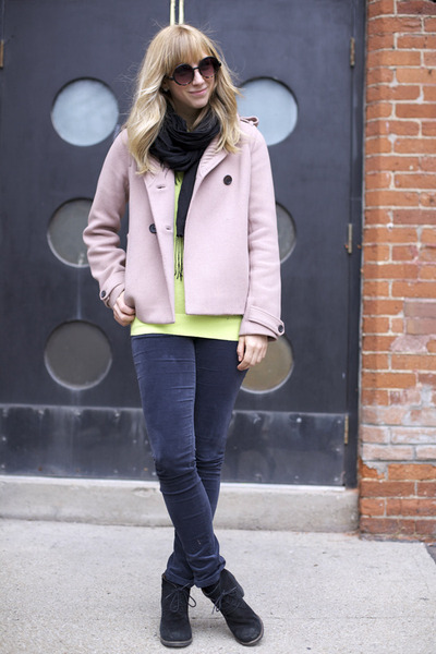 lime green American Apparel sweater - black Aldo boots - light pink Jcrew coat