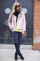 lime green American Apparel sweater - black Aldo boots - light pink Jcrew coat