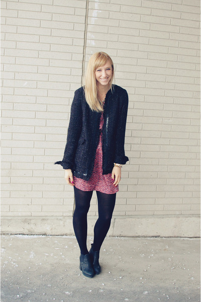 black eShakti blazer - black Topshop boots - maroon Elizabeth and James dress