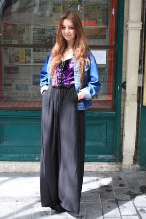 black maxi skirt - top