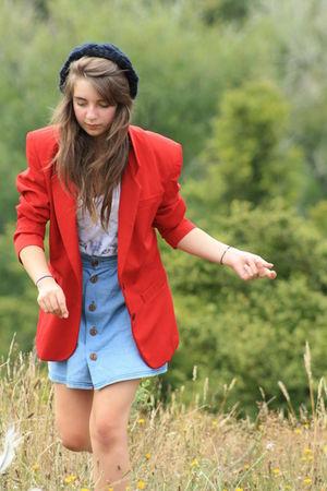 blue button skirt skirt - black beanie hat - red blazer blazer