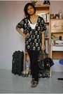 Black-thrifted-jacket-white-thrifted-shirt-random-leggings-versace-purse-