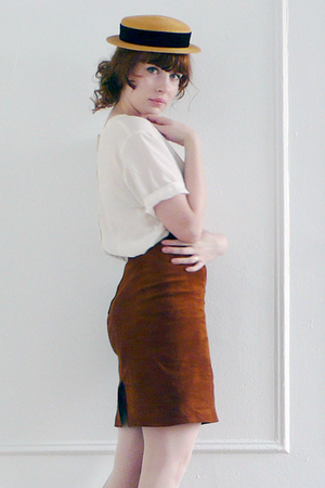 brown suede vintage skirt - brown straw vintage hat - white silk vintage blouse