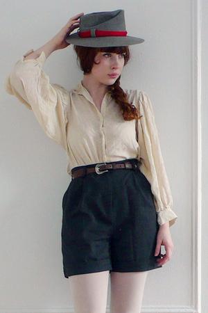 white vintage blouse - gray vintage shorts - gray vintage hat - white American A