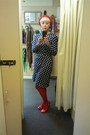 Navy-vintage-dress-red-american-apparel-hat-red-ebay-tights