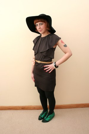 black floppy felt H&amp;M hat - dark green metallic Irregular Choice shoes
