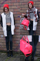 black Topshop boots - white romwe coat - black new look jeans - red H&M hat