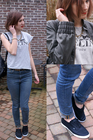 H&M jeans - heather gray Zara shirt - black Vans sneakers