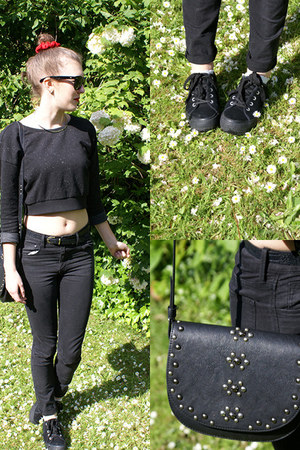 black H&M jeans - black Mango bag - black new look sneakers - black Zara jumper