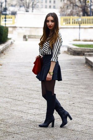 Zara boots - Choies shirt - Zara bag - H&M skirt - Michael Kors watch