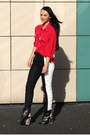 Black-h-m-pants-red-vintage-blouse