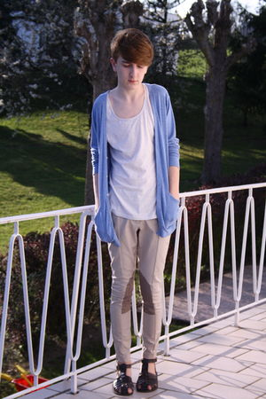 beige H&M pants - white weekday t-shirt - blue American Apparel cardigan
