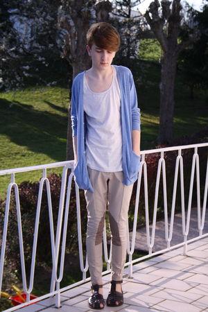 beige H&M pants - white weekday t-shirt - blue American Apparel cardigan
