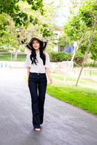 polka dot Zara blouse - wide leg MIH Jeans jeans - floppy hat Target hat