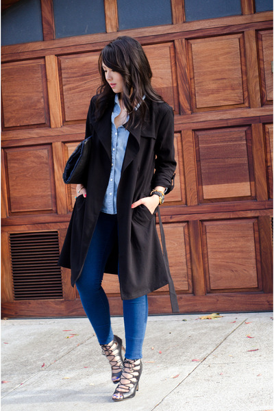 trench coat H&M jacket - chambray Gap shirt - lace up Zara heels