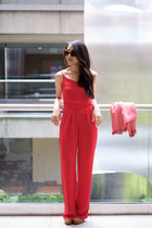 red jumpsuit Charlotte Russe jumper - salmon cropped aryn k blazer