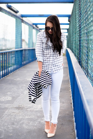 windowpane Marine Layer wedges - distressed asos jeans - stripes Zara blazer