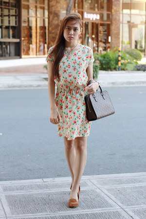 brown Louis Vuitton bag - floral Robinsons dept store dress