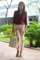 floral asian fashion pants - maroon Mango sweater - white Lacoste bag
